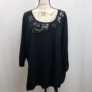 Avenue Plus Size 3/4 Sleeve Knit Top w Sequins